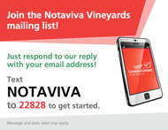 sign up for the Notaviva vineyards newsletter